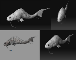 Sea Creature 01 WIP, 3 Views and Concept
